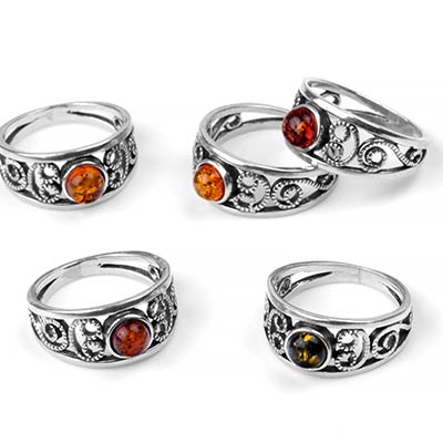 Silver and Amber Swirl Ring