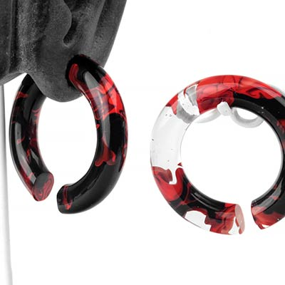 Glass Power Saturn Weights - Red and Black