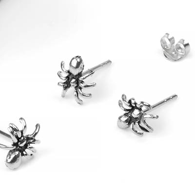 Silver Spider Stud Earrings