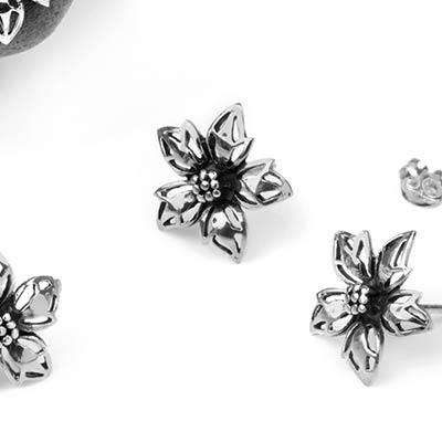 Silver Lily Stud Earrings