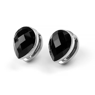 Solid White Brass Spade Weights with Faceted Black Obsidian