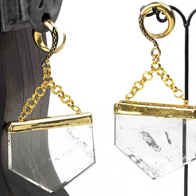 Solid Brass Weights with Clear Quartz Slices