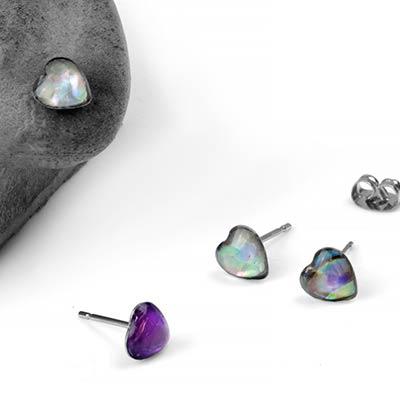 Shell Heart Stud Earrings