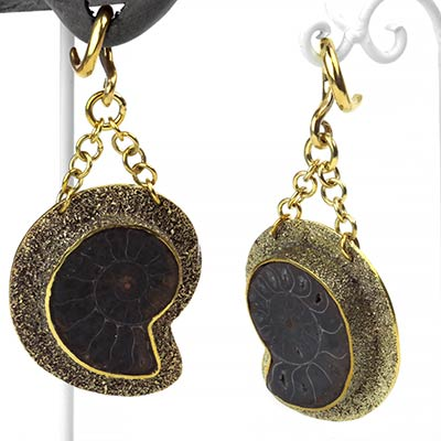 Solid Brass and Black Ammonite Dangles