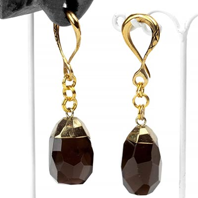 Brass and Faceted Smoky Quartz Weights