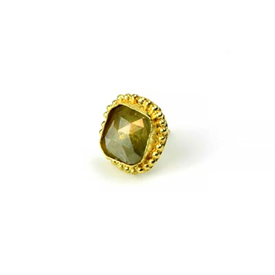 14k Gold Threadless End with Rose Cut Diamond