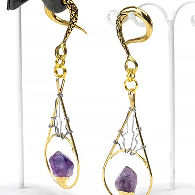 Solid Brass Teardrop Weights with Amethyst