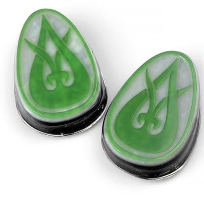 Glass Green on White Dayak Tendril Teardrop Plugs