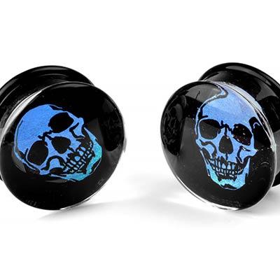 Glass Skull Dichro Image Plug
