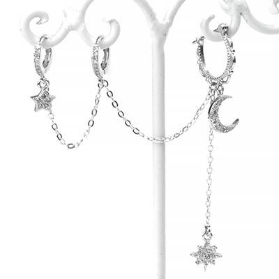 Silver Galaxy Dangle Double Huggie Earring