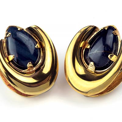 Brass Saddles with Blue Tiger Eye