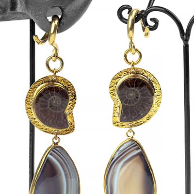 Solid Brass, Ammonite and Botswana Agate Dangle Weights