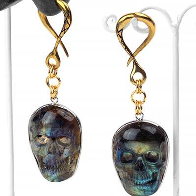 Solid Brass Labradorite Skull Weights