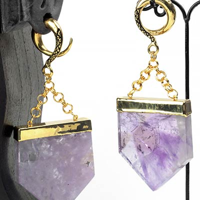 Solid Brass Weights with Amethyst Slices