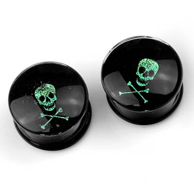 Glass Skull and Crossbones Dichro Image Plugs
