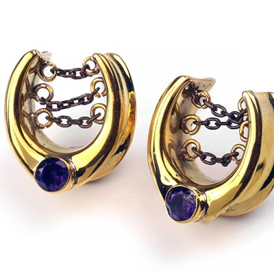 Solid Brass Saddles with Faceted Amethyst