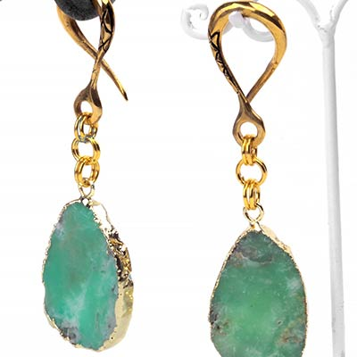 Solid Brass Dangle Weights with Chrysoprase