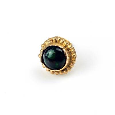 14k Gold Threadless End with Ethiopian Black Opal