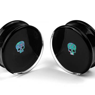 Glass Opal Skull Plugs
