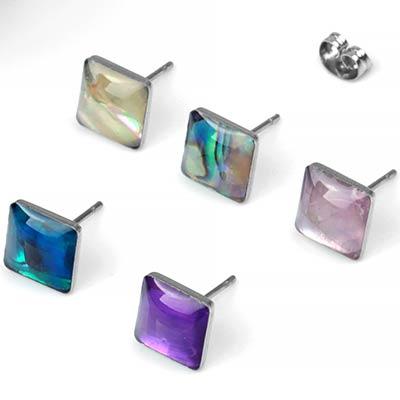 Shell Square Stud Earrings