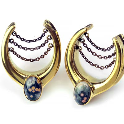 Brass Teardrop Saddles with Chains and Ocean Jasper