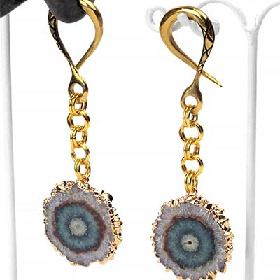 Brass Dangle Weights with Stalactite Druzy