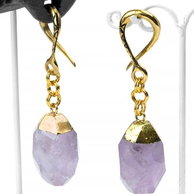 Brass and Faceted Amethyst Weights