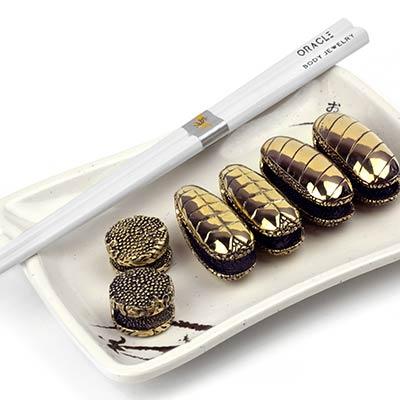 Brass Sushi Plate Set