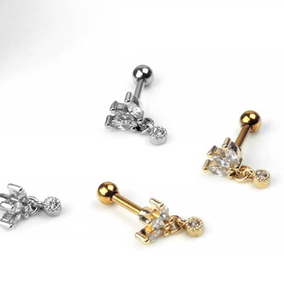 Marquise Gemmed Dangle Barbell