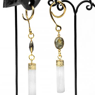 Solid Brass Dangle Weights with Labradorite and Selenite