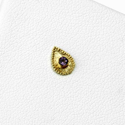 14k Gold Crybaby Threadless End with Amethyst Gemstone