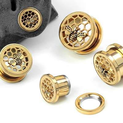 Steel Bumble Bee and Honeycomb Eyelets