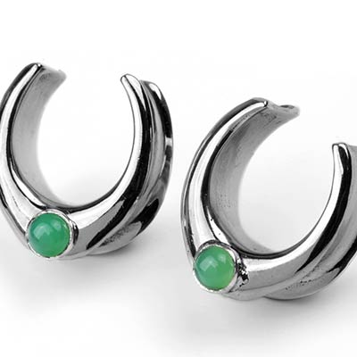 Solid White Brass Saddles with Chrysoprase