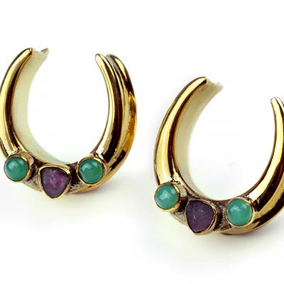 Brass Saddles with Watermelon Tourmaline and Chrysoprase