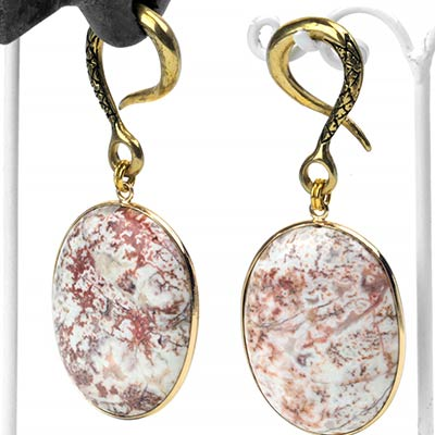 Solid Brass Dangle Weights with Dendritic Agate