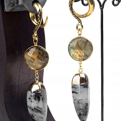 Brass Dangle Weights with Labradorite and Tourmalated Quartz