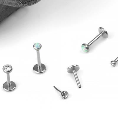 Steel Bezel Set Gem and Opal Threadless Labret