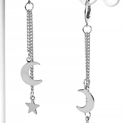 Silver Galactic Dangle Huggie Earrings