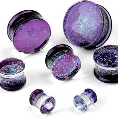 Glass Flare Green Galaxy on Amethyst Plugs