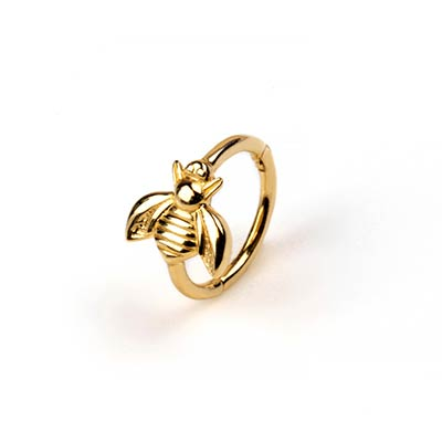 14K Gold Side Set Bee Clicker