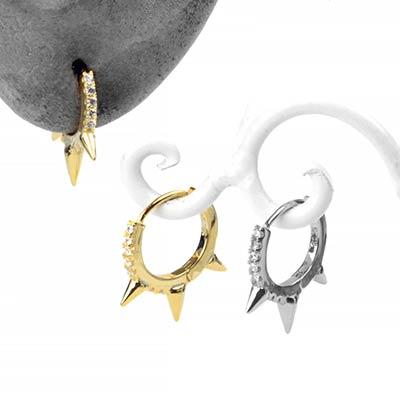 Gemmed Spike Huggie Earring