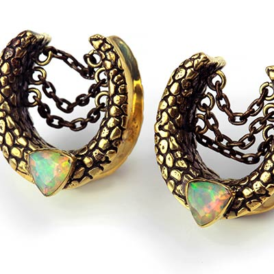 Solid Brass Saddles with Chains and Faceted Opal