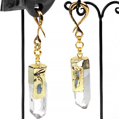 Brass Dangle Weights with Kyanite and Crystal Quartz