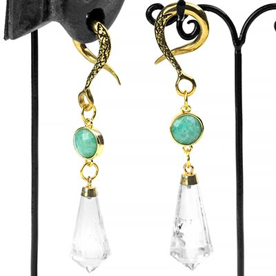 Brass Dangle Weights with Faceted Amazonite and Clear Quartz