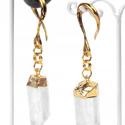 Brass Dangle Weights with Crystal Quartz