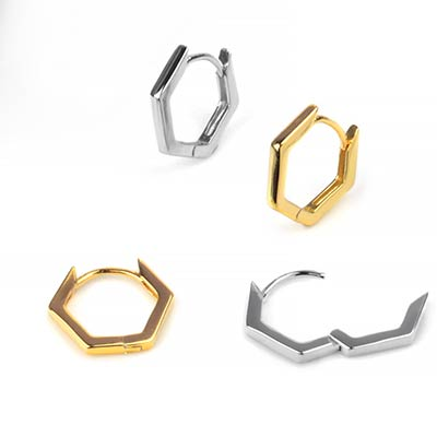 Hexagon Huggie Earring