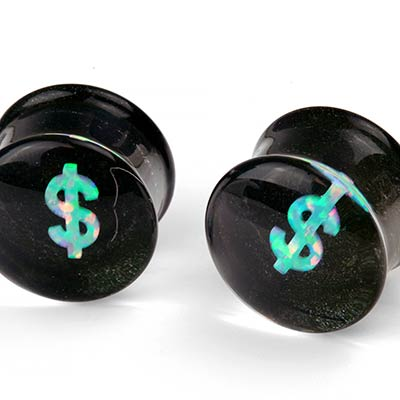 Glass Plugs with Dollar Sign Opals