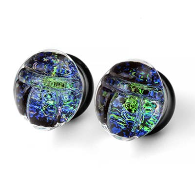 Glass Blue Green Scarab Galaxy Plugs