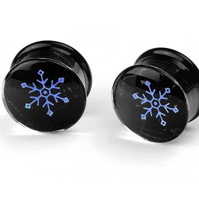 Glass Dichro Snowflake Image Plugs