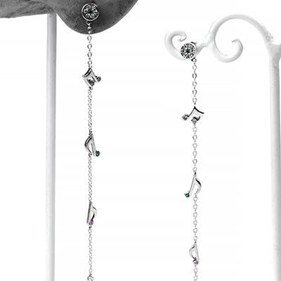Silver Music Note Dangle Earring